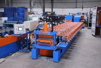 0.4-0.7mm Standing Seaming Roof Panel Roll Forming Machine With Cr12 Steel Cutter
