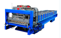 China PLC Control Glazed Roof Tile Roll Forming Machine With Cr12 Tool Steel Cutter factory