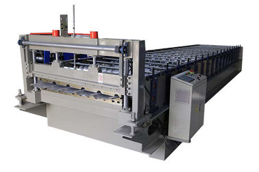 China 0.25-0.6mm Roof Steel Profile Roll Forming Machine With PLC System Controls factory
