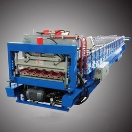 Two Layer Roof Panel / Glazed Tile Roll Forming Machine 0.4-0.8mm Thickness